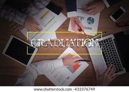 BUSINESS TEAM WORKING OFFICE  Graduation TEAMWORK BRAINSTORMING EDUCATION CONCEPT - stock photo