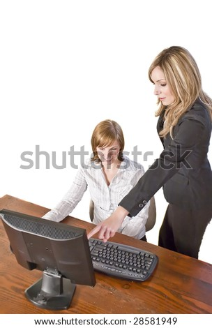 business team working on computer together isolated on white - stock photo