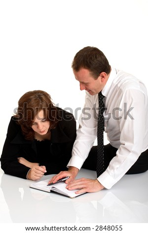 Business team working on white