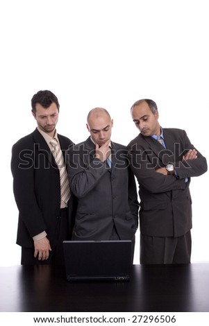 business team, working with laptop - isolated over white