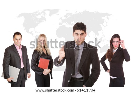 Business team working worldwide in front of a map - stock photo