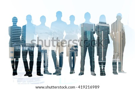business, teamwork and people concept - business people silhouettes over city background with double exposure effect - stock photo