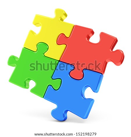 Business, teamwork and success concept. Four color red, blue, green and yellow puzzle pieces isolated on white