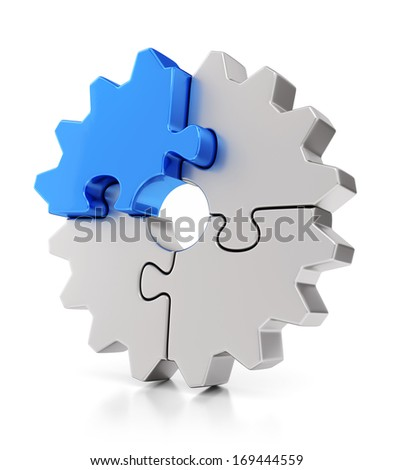 Business, teamwork and success concept. Gear from puzzle pieces isolated on white background with reflection effect. - stock photo