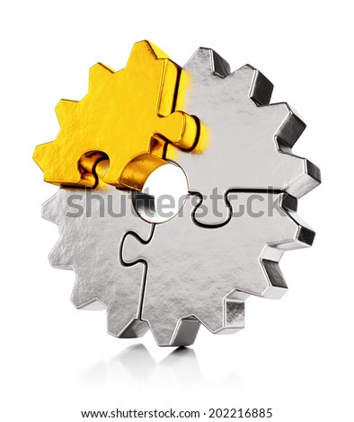 Business teamwork, collaboration and success concept. Gear from golden and silver puzzle pieces isolated on white background with reflection effect. - stock photo