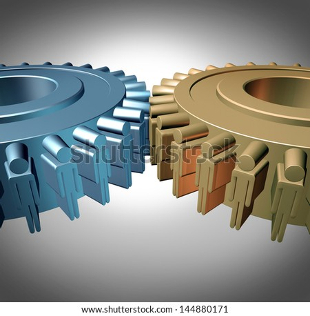 Business Teamwork concept as two merged gears or cog wheels shaped as business people in a meeting connected together as an organized working partnership for corporate strength and industry success. - stock photo