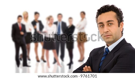 business teamwork concept on white background - stock photo