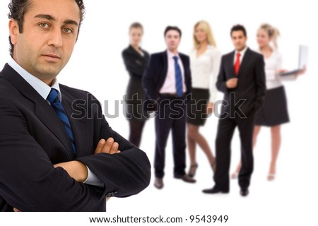 business teamwork concept with business people on white - stock photo