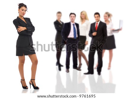 business teamwork concept with businesswoman and business people