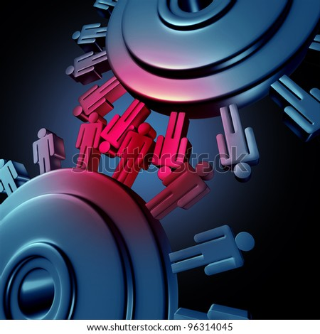 Business teamwork group cooperation with two wheels made of gears or cogs as human worker symbols connected in a network as a group new success in finances. - stock photo
