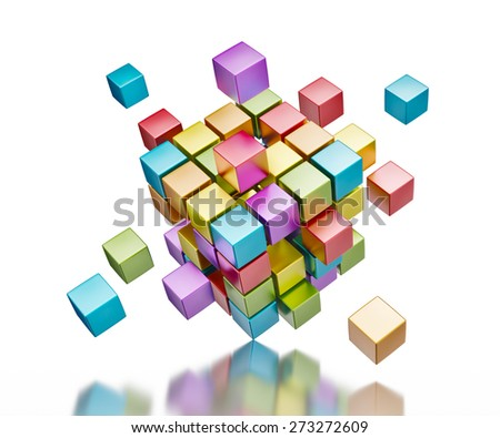 Business teamwork internet communication concept - colorful color cubes assembling into  cubic structure standing on one corner isolated on white with reflection - stock photo