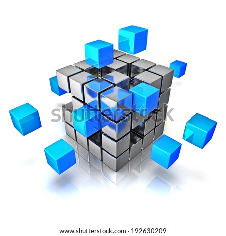 Business teamwork internet communication concept - cubes assembling into metal cubic structure isolated on white with reflection - stock photo
