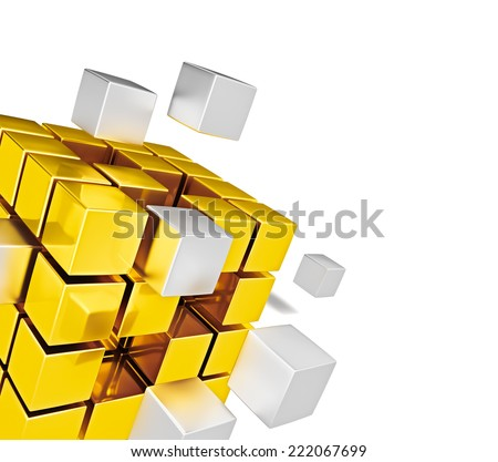 Business teamwork internet communication concept  - metal cubes assembling into gold cubic structure isolated on white close up with copy space - stock photo