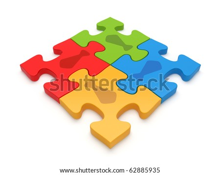 Business teamwork jigsaw puzzle concept - stock photo