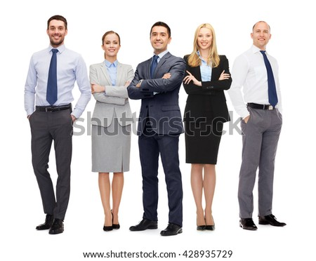 business, teamwork, office and people concept - group of happy business people - stock photo