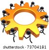 Business teamwork process. Power of workers team concept. Stylized shiny black peoples turning together an golden gear wheel. This is a detailed render 3D (Hi-Res). Isolated on white background - stock photo