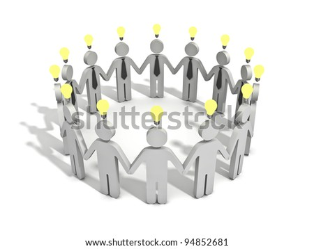 Business teamwork with idea light bulbs above their heads on white background with shadow - stock photo