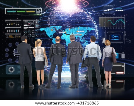 Business tech . Global Business team analyzing and discussing with a futuristic technology screen background. 3d rendering   - stock photo
