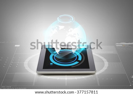 business, technology, advertisement and modern gadget concept - close up of tablet pc computer with earth globe hologram over gray background - stock photo