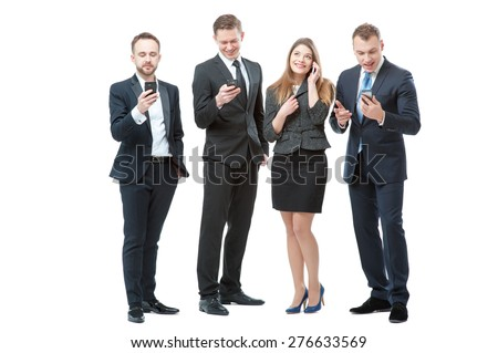 Business, technology and communication. Full length of group of business people using smart phones. Isolated on white. - stock photo