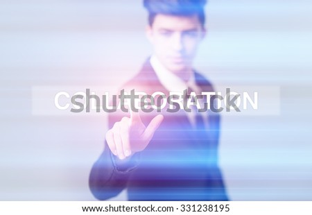business, technology and internet concept - businessman pressing collaboration button on virtual screens - stock photo