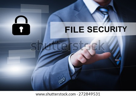 business, technology and internet concept - businessman pressing file security button on virtual screens - stock photo