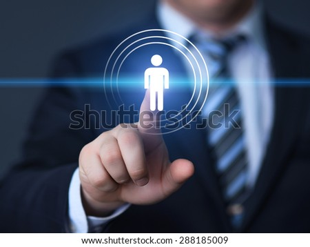 business, technology and internet concept - businessman pressing hr button on virtual screens