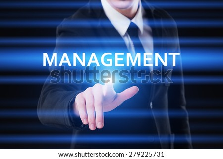 business, technology and internet concept - businessman pressing management button on virtual screens - stock photo