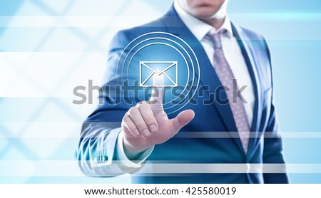 business, technology and internet concept - businessman pressing message button on virtual screens. Template for text. - stock photo