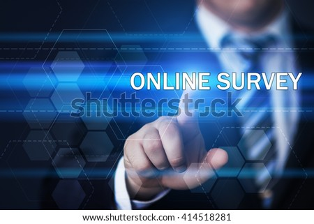 business, technology and internet concept. Businessman pressing online survey button on virtual screens with hexagons and transparent honeycomb - stock photo