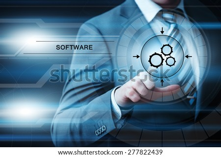 business, technology and internet concept - businessman pressing software button on virtual screens - stock photo