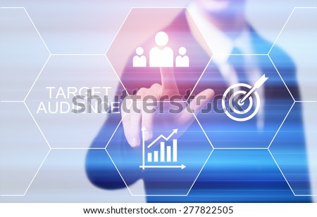 business, technology and internet concept - businessman pressing target audience button on virtual screens - stock photo