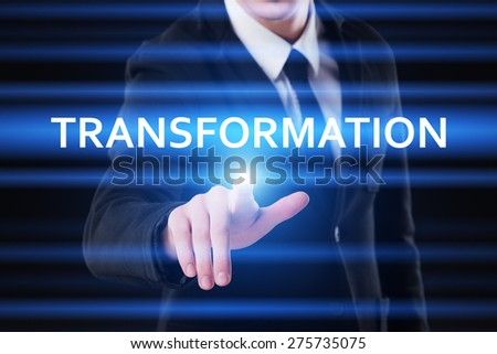 business, technology and internet concept - businessman pressing transformation button on virtual screens - stock photo