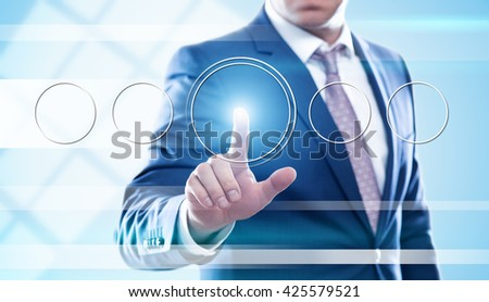 business, technology and internet concept - businessman pressing transparent button on virtual screens. Template for text. - stock photo