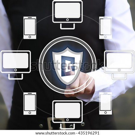 Business, technology and internet concept - businesswoman pressing security button on virtual screens. Shield, guardian - stock photo