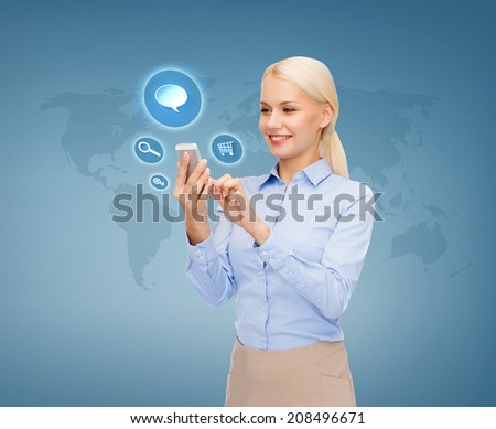 business, technology and internet concept - businesswoman with smartphone over blue background