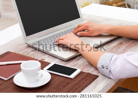 business, technology and internet concept - the girl at the computer manager - stock photo
