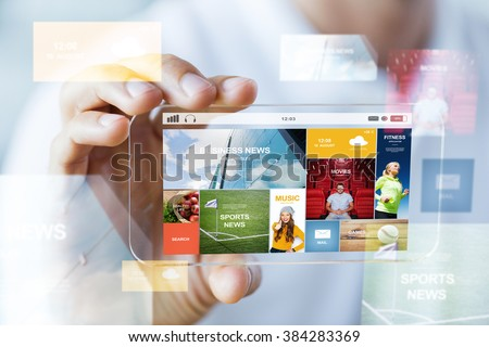 business, technology and people concept - close up of male hand holding and showing transparent smartphone news web page on screen - stock photo