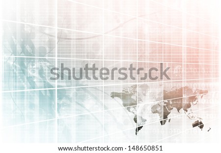 Business Technology Background with World Map Online - stock photo