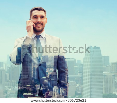 business, technology, communication and people concept - smiling businessman with smartphone talking over city background - stock photo