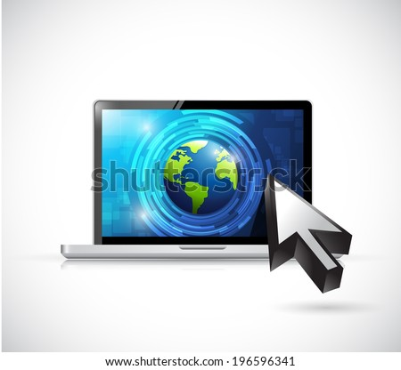 business technology computer illustration design over a white background - stock photo