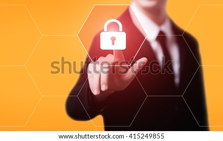 business, technology, data protection, internet and virtual reality concept - businessman pressing security button on virtual screens with hexagons and transparent honeycomb - stock photo