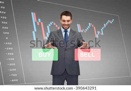 business, technology, finance and people concept - smiling businessman or stock broker over forex chart projection - stock photo
