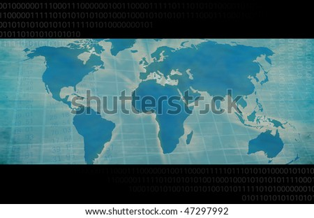 Business & Technology Graphic with World Map - stock photo