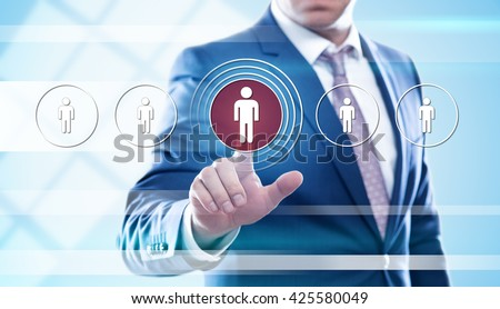 business, technology, human resources and internet concept - businessman pressing hr button on virtual screens - stock photo