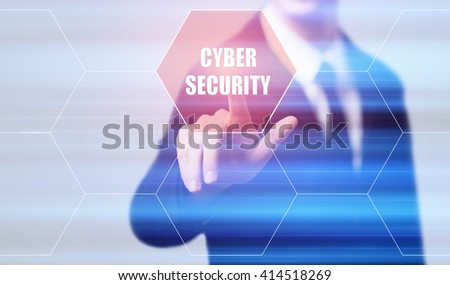 business, technology, internet and data protection concept. Businessman pressing cyber security button on virtual screens with hexagons and transparent honeycomb - stock photo