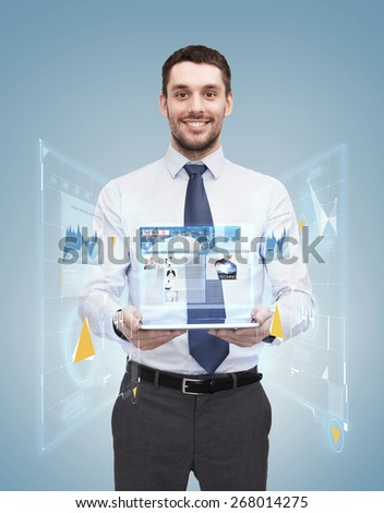 business, technology, internet and education concept - friendly young smiling businesswoman with tablet computer showing news - stock photo