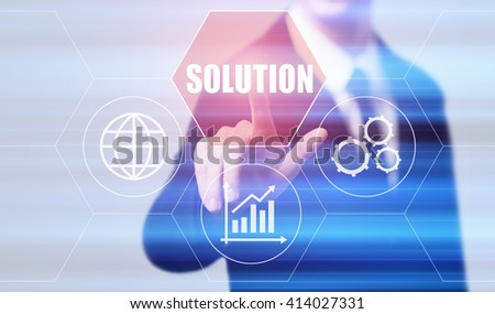 business, technology, internet and finance concept - businessman pressing solution button on virtual screens with hexagons and transparent honeycomb