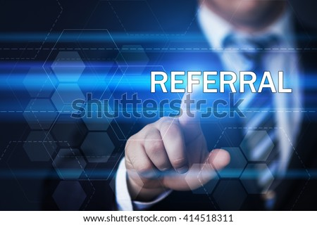 business, technology, internet and marketing concept. Businessman pressing referral button on virtual screens with hexagons and transparent honeycomb - stock photo