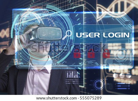 Business, Technology, Internet and network concept. Young businessman working in virtual reality glasses sees the inscription: User login